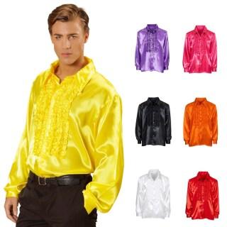 70er Jahre Ruschenhemd Satinhemd Manner Satin Hemd Herren 17 99