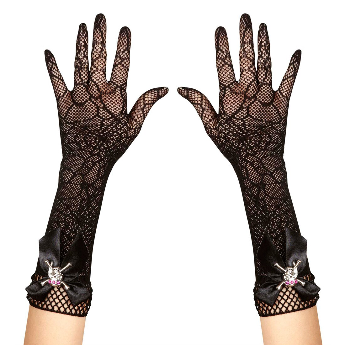 Hexenhandschuhe schwarz lang Fingernägel Accessoire Halloween Hexe