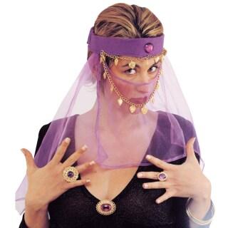 Orient Gesichtsschleier Bauchtanz Kopfschmuck Lila Harem Tanzerin