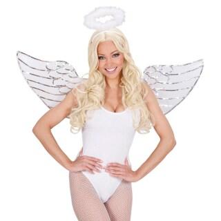 Engelsflugel Und Heiligenschein Engel Kostum Set Weiss Engelskostum