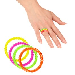 Neon Ring Set 80er Jahre Fingerringe 4 Stk.