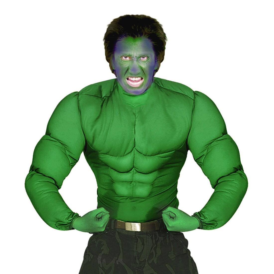 Superhelden Kostüm Hulk Muskelkostüm Comic Muskel Shirt