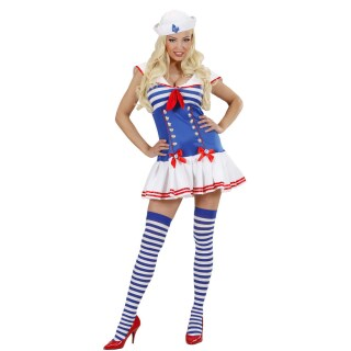Matrosin Kostüm Damen Matrosenkostüm Marine Frauenkostüm Blau Weiß